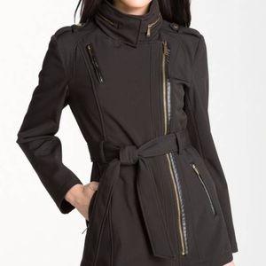 Michael Kors • Black Asymmetrical Zip Trench Coat